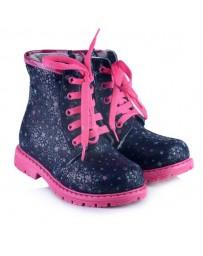 Зимние ботинки Theo Leo 847 р. 21-34 Синие с розовыми шнурками