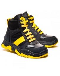 Ортопедические ботинки Theo Leo 1178 р. 26-40 Черные с желтыми шнурками