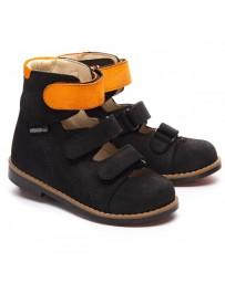 Ортопедические туфли Theo Leo 1245 р. 23-34 Черные с оранжевым