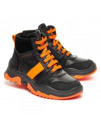 Ортопедические ботинки Theo Leo 1353 р. 28-36 Черные с оранжевым