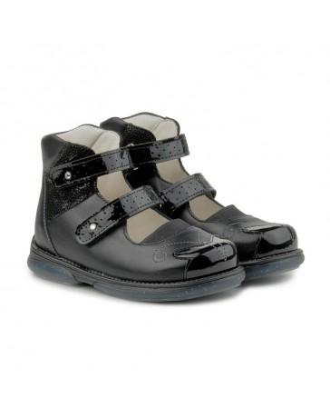 Ортопедические туфли для девочек Memo Princessa черные