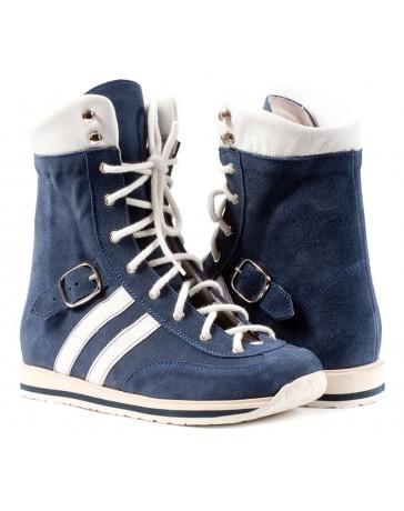 Ортопедические ботинки для детей с ДЦП Memo Sprint синие (нубук)