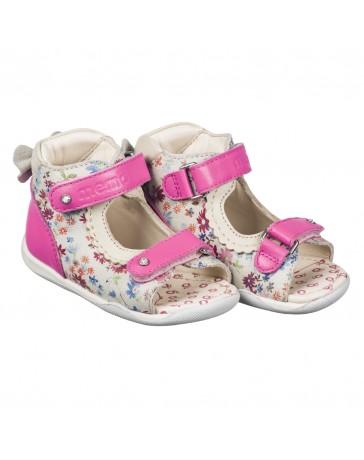 Детские ортопедические босоножки Memo Mini бело-розовые, с плоской стелькой