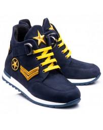 Ортопедические ботинки Theo Leo 017 р. 26-40 Синие с желтыми шнурками