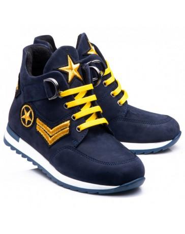 Ортопедические кроссовки-ботинки Theo Leo RN017 р. 31-40 Синие с желтыми шнурками