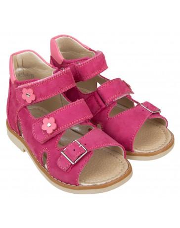 Ортопедические босоножки «Алиса» для девочек, розовый нубук