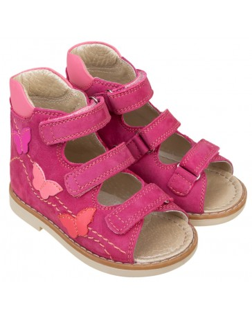 Ортопедические босоножки для девочек Эмма, розовый нубук