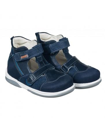 Ортопедические туфли для девочек Memo Torino синие, с плоской стелькой