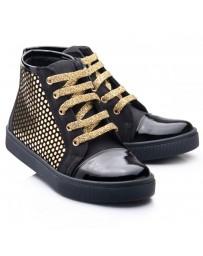 Ортопедические демисезонные ботинки Theo Leo RN816 р. 23-33 Черно-золотые