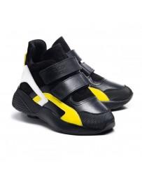 Ортопедические ботинки Theo Leo 1013 р. 31-40 Черные с желто-белыми вставками
