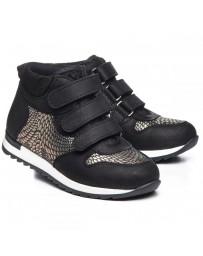 Ортопедические ботинки Theo Leo 1044 р. 30-38 Черно-золотые