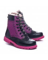 Зимние ботинки Theo Leo 1068 р. 23-33 Черно-розовые